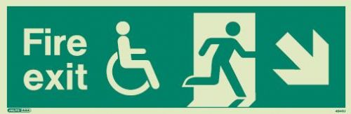 (4045) Jalite Mobility Impaired Fire Exit Down Right sign